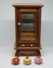 Miniature wood cabinet Thai Art Painted handmade craft & 3 bowls dollhouse