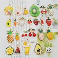 24PCS Enamel Plated Assorted Fruit Series Charms Pendant Jewelry DIY Findings