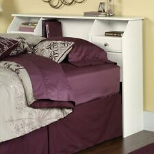 Soft White Bookcase Headboard Full Queen Size Storage Drawers Cubby Organizer