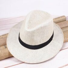 Men Fashionable Straw Panama Hat Handmade Cowboy Cap Summer Beach Travel Sunhat