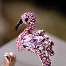 Bague Doré Flamingos Grue Oiseau Rose Cristal Email Noir Ouvert Original 53 Z1
