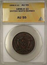 1896-H British North Borneo 1c One Cent Copper Coin ANACS AU-55