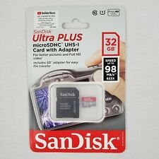 SanDisk Ultra Plus 32GB Micro SDHC UHS-I Card with Adapter (98 MB/s)