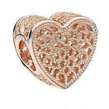 New Genuine PANDORA Rose Gold Filled With Romance Charm