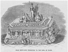 Gold Snuff Box Presented to the Earl of Elgin - Antique Print 1859