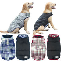 Waterproof Reversible Dog Clothes Large Plaid Winter Small Dog Coats Beagle