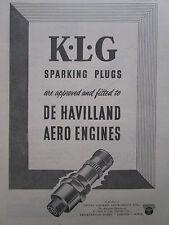 1/1947 PUB SMITHS AIRCRAFT INSTRUMENTS KLG SPARKING PLUGS DE HAVILLAND ENGINE AD
