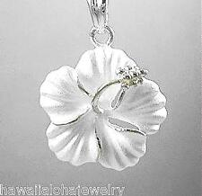 22mm Hawaiian Solid 925 Sterling Silver Matted Hibiscus Flower Pendant