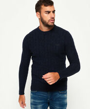 Superdry Harlo Cable Crew Neck Jumper Imperial Navy Twist 93n Medium