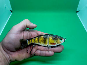 """Baby Perch  Swimbait Jointed Soft tail  5.51"""" 1.34oz Rattling Sinking"""