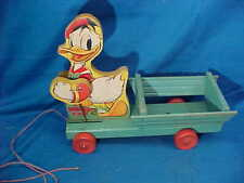 Orig 1940s FISHER PRICE # 544 DONALD DUCK w Cart PULL TOY