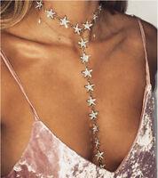 Womens Bib Choker Long Chain Necklace Star Diamante Peandant Statemant Jewelry