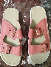 Fashion Slipper women's sandal wedge shoes PU leather. In white & pink size 7.5.
