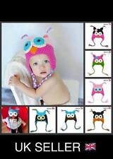 Cute Crochet Owl Hat for baby / young child 6 Colours available