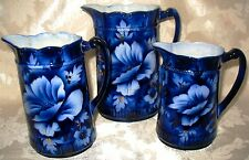 Antique Cobalt Blue Graduated Set of 3 Pitchers this is a RARE Book Piece Set