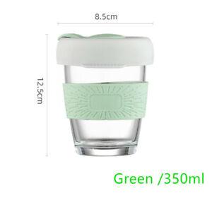 350ml Glass Travel Mug with Silicone Sleeve Car Coffee Cup Glass Cup
