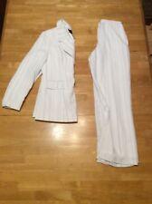 METRO STYLE White Blue Pinstripe Double Breasted Pant SUIT Jacket Blazer 4 P