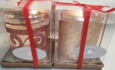 CHRISTMAS DECORATED GLASS PILLAR CANDLE HOLDER - HOLDS TEA LIGHT CANDLE QTY 2