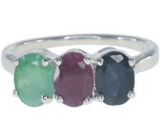 Emerald Sterling Silver Ruby Natural Fine Rings