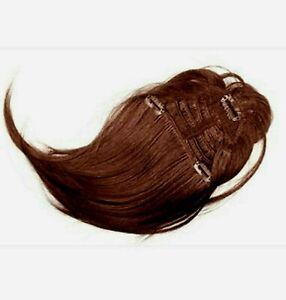 Frange extension cheveux naturels châtain foncé