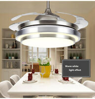 "36"" Modern Invisible Ceiling Fan Light LED Chandelier Lamp Fixture w/ Remote New"