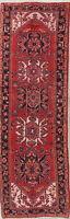 """VINTAGE 11 ft RED Runner Heriz Persian Tribal Oriental Wool Rug 10' 8"""" x 3' 6"""""""