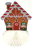 FOLD OUT XMAS HONEYCOMB PAPER GINGERBREAD HOUSE DECORATION CENTREPIECE
