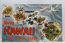 Hawaii HI 50th State Map Here's Postcard Old Vintage Card View Standard Souvenir