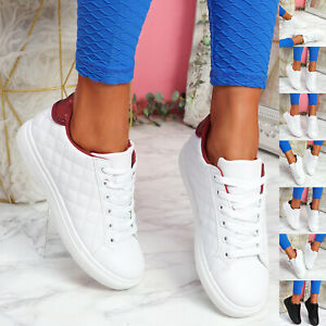 WOMENS LADIES LACE UP FLAT TRAINERS PLIMSOLL CASUAL SNEAKERS WOMEN SHOES SIZE