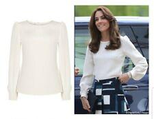 Goat Tennessa full sleeve silk blouse, Natural UK 10. Aso royal.