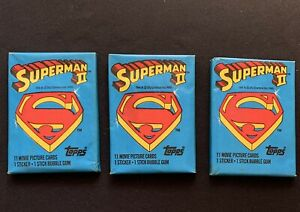 Lot of (3) 1981 Topps SUPERMAN II, Wax Pack Cards, Unopened, Christopher Reeves