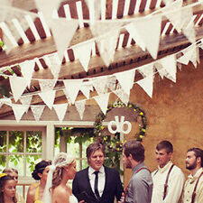 White Cotton Lace Flag Banner Bunting Pennant For Wedding Birthday Party Decor