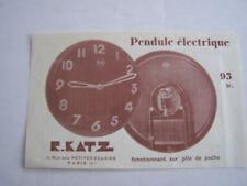 PUBLICITE , PENDULE ELECTRIQUE R . KATZ , FONCTIONNANT SUR PILE  DE POCHE . EXA