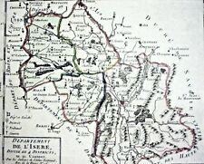 JEAN HOUDAN grenzkolor Kupferstich 1792: DÈPARTEMENT DE L´ISERE DI..4 DISTRICTS