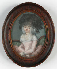 """Portrait of a fashionable lady"", high quality large miniature, 1785/90"