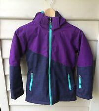 Crane Girls Size 8 Purple Teal Ski Jacket Full Zip Hooded Breathable As New