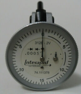 """Interapid Vertical Dial Test indicator Model 312B-2V .0005"""" 0 to 0.06"""" White"""
