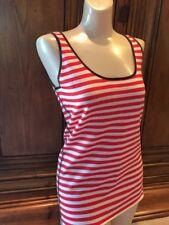 NWT Tory Burch Sz Small Wool Tank Top Knit Striped Tan Red HTF Gorgeous
