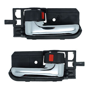 Inside Door Handles Pair - Left and Right / Front or Rear Black w/ Chrome Lever