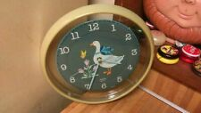 "Vintage Sunbeam Quartz Wall Clock,11"",goose/flowers,,works great,vg!"