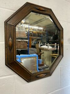 Edwardian Oak Octagon Wall Mirror - Bevelled Glass