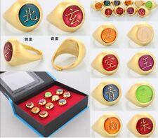 Dz787 Elegant Cosplay Naruto Akatsuki 10 Gold Rings Sets And Necklace With Box ~