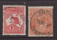 Tasmania GROVE postmark  on KGV and Kangaroo