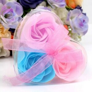 Luxury Soap Flowers-3 In A Heart❤️Shaped Gift Box - Roses Soaps Flowers Se Fun