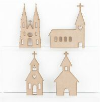 Wooden MDF Churches Cathedral Blank Wedding Decoration 3mm Thick Tags Blank