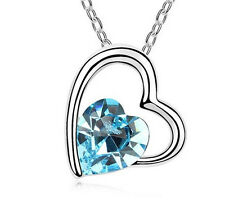 NEW Womens Heart Sky Blue Crystal Rhinestone Silver Chain Pendant Necklace  HOT