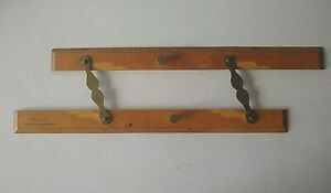 Antique Wood Brass Parallel Ruler Nautical Navigation Tool, Ship Captain Field's