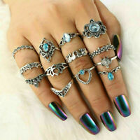 Women 13pcs Blue Crystal Turtle Finger Rings Retro Ring Sets Boho Jewelry