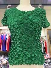 New Women Elastic Blouse Fahion Popcorn Tops  short Sleeves Shirts Coin shirts