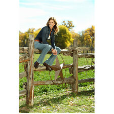 Killer Women Tricia Helfer Molly Smiling and Seated on Fence 8 x 10 Inch Photo